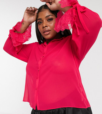 Saint Genies Plus lace peplum sleeve detail shirt in fuchsia