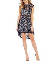 B. Darlin Mock Neck Illusion Lace High-Low Fit-and-Flare Dress