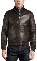 Salvatore Ferragamo Reversible Leather to Nylon Bomber Jacket, Chocolate/Navy