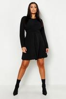 boohoo Plus Wrap Front Woven Skater Dress