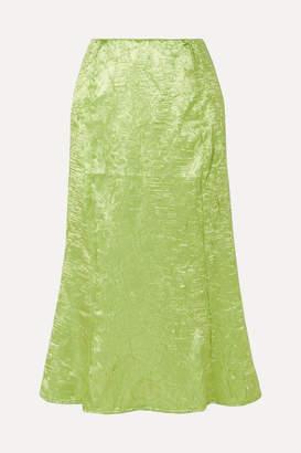 The Line By K - Grace Crinkled-satin Midi Skirt - Green