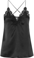 Cami NYC - Everly Lace-trimmed Silk-charmeuse Camisole - Black