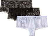 Felina Women's Lush Lace Cheeky Boy, Black/Black/White, (Pack of 3)
