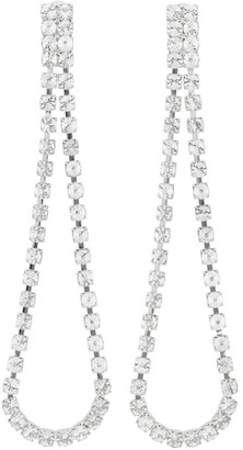 Wandering Silver Crystal Long Pendant Earrings