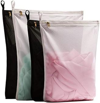 TENRAI Delicates Laundry Bags, Bra Fine Mesh Wash Bag for Underwear, Lingerie, Bra, Pantyhose, Socks, Use YKK Zipper, Have Hanger Loops (2 Large & 2 Medium)