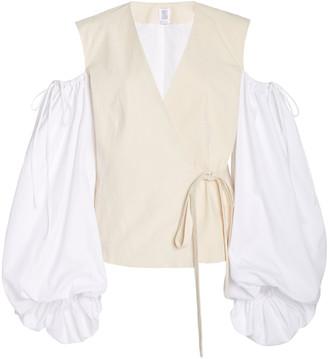 Rosie Assoulin Cold-Shoulder Cotton-Poplin Wrap Top