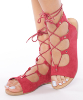 Red Galaxy Lace-Up Sandal