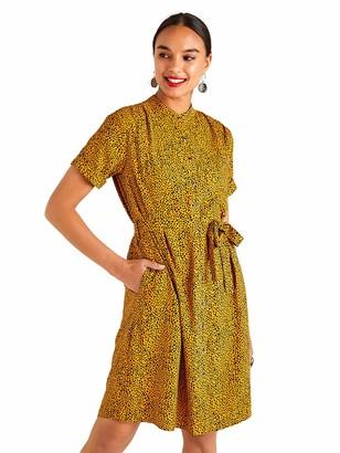 Yumi Mustard Animal Spot Print Shirt Dress