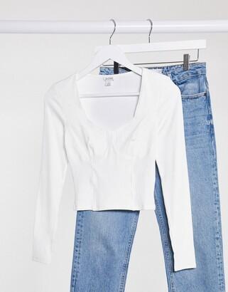 Monki Vinnie organic cotton seam detail jersey top in off white