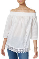 Style And Co. Off-the-Shoulder Lace Peasant Top