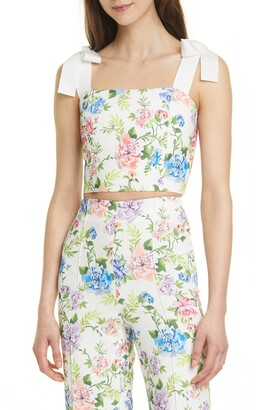 Alice + Olivia Nika Floral Fitted Crop Top