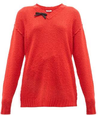 Miu Miu Bow-front Wool-blend Sweater - Womens - Red