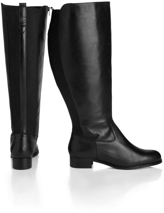 f5e0c0961f6 Long Tall Sally Cosmos Leather Knee Boots With Elastic Panel