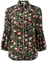 Erdem floral printed Aran shirt - women - Silk - 8