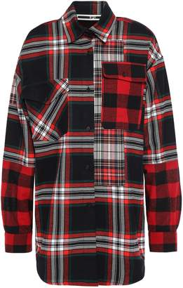 McQ Paneled Checked Cotton And Wool-blend Shirt