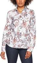 Eterna Women's Comfort Fit Langarm Bunt Bedruckt Mit Hemd-Kragen Blouse,8