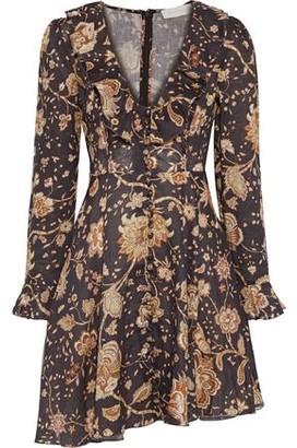 Zimmermann Veneto Ruffle-trimmed Floral-print Linen Mini Dress