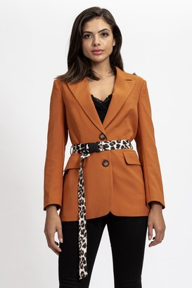 Liquorish Camel Jacket with Animal Printed Belt