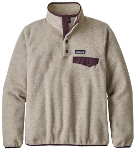 Patagonia Large Oatmeal Heather with Deep Plum Womens Light Weight Synch Snap T Pull Over - l