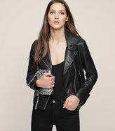Reiss Ally - Leather Biker Jacket in Black, Womens