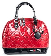 Loungefly Mickey And Minnie And Black Patent Embossed Bag Standard