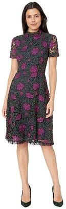 Tahari ASL Lace Fit and Flare Dress (Navy/Fuchsia/Olive) Women's Dress