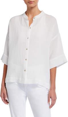 Eileen Fisher Plus Size Mandarin-Collar Elbow-Sleeve Organic Cotton Gauze Shirt