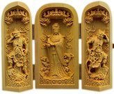 CLHK Boxwood Figurine Three Open box hand wood carving collection crafts Decorations , 10cm