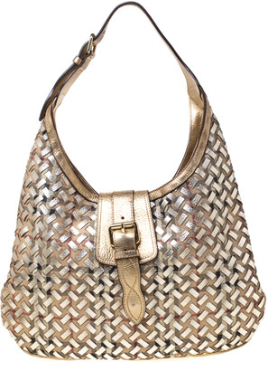 Burberry Gold Woven Leather Classic Check Brooke Hobo