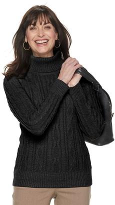 Croft & Barrow Women's Cabled Turtleneck Sweater