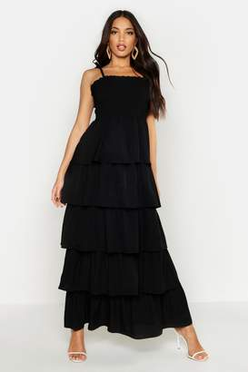 boohoo Woven Tie Sheered Ruffle Maxi Dress