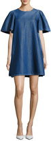 Co Denim Short-Sleeve Swing Tunic Dress, Blue