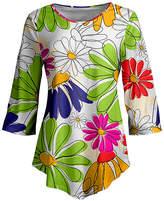 Lily Women's Tunics GRN - Green & White Floral Three-Quarter Sleeve Pointed-Hem Tunic - Women & Plus