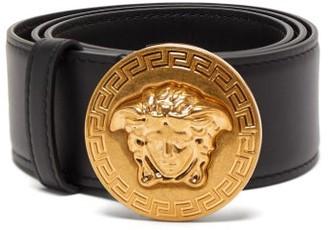 Versace Medusa-coin Leather Belt - Womens - Black Gold