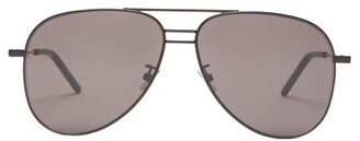 Saint Laurent Lasered-logo Aviator Metal Sunglasses - Womens - Black