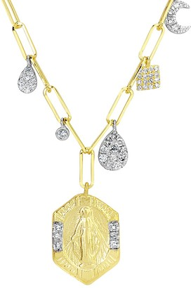 Meira T Coin 14K Yellow Gold & Diamond Charm Necklace