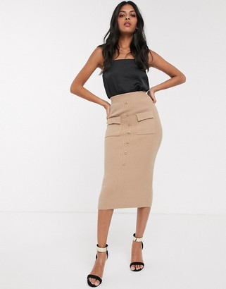 Fashion Union button front knitted midi skirt