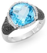 Effy Blue Topaz, Black Diamond, White Diamond & 14K White Gold Halo Ring