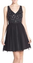 Adrianna Papell Women's Beaded Tulle Party Dress