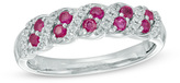 Zales Lab-Created Ruby and 1/8 CT. T.W. Diamond Twist Band in 10K White Gold