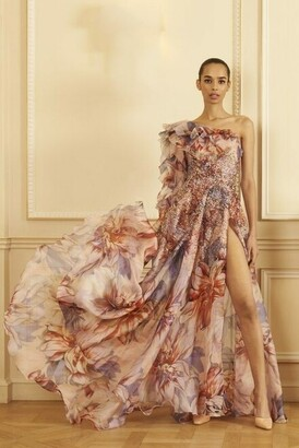 GEORGES HOBEIKA Beaded One Shoulder Organza Print Gown