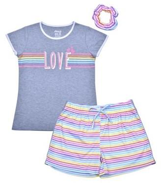 Sleep On It Girls 7-16 Short Sleeve & Shorts 2-Piece Pajama Set With Matching Hair Scrunchie