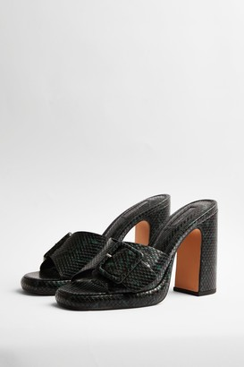 Topshop Womens Reflect Green Buckle Mules - Green