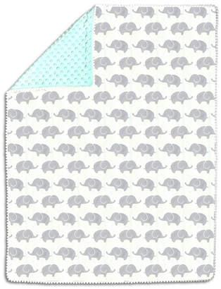 The Peanut Shell The Mint & Grey Elephants Pompom Blanket Bedding