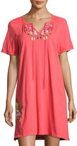 Johnny Was Drawstring-Neck Peasant Dress, Pink