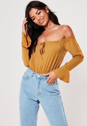 Missguided Petite Mustard Long Sleeve Bardot Bodysuit