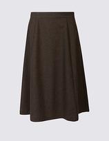 Classic Wool Blend Herringbone A-Line Midi Skirt