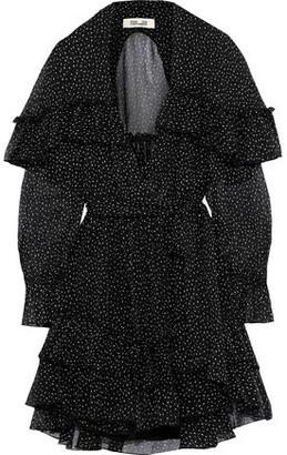 Diane von Furstenberg Martina Tiered Polka-dot Silk-georgette Mini Wrap Dress