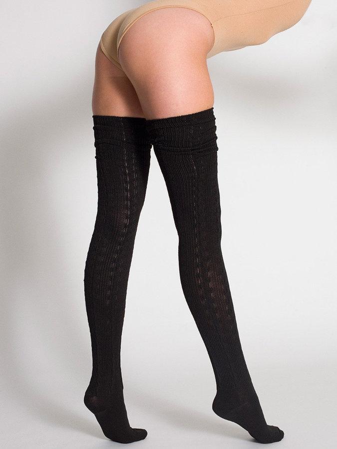 American Apparel Chain-Link Solid Thigh-High Socks