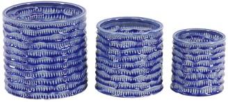 Willow Row Blue Porcelain Planters - Set of 3